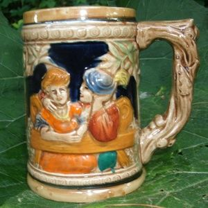 Vintage Beer Stein Mountain Scene Happy Couple